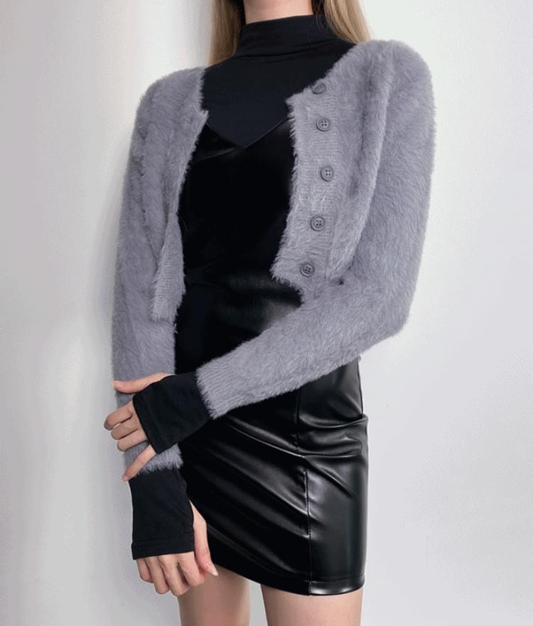 Pastel cropped knit cardigan 開襟衫