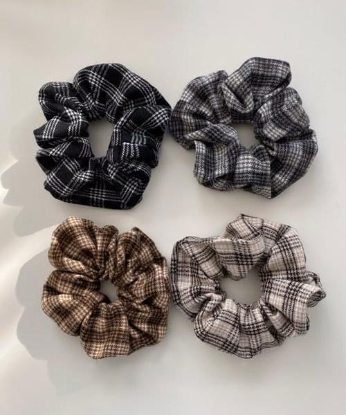 vintage check scrunchie 配飾