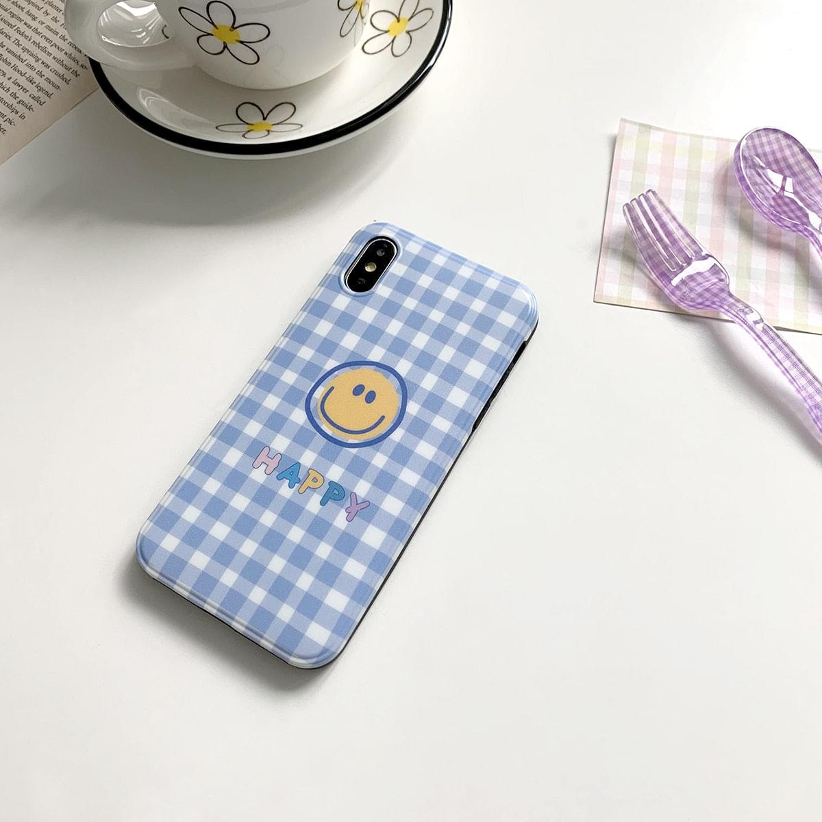 Happy Smile Gingham Check Matte iPhone Case