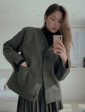 Annber sleeve slit no-collar wool jacket 夾克外套