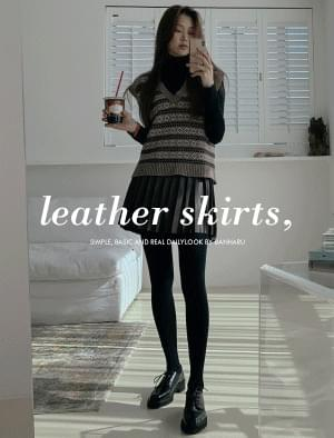 Sands pleated leather skirt 裙子
