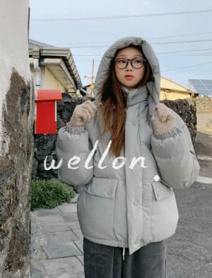 Yoni Overfit Wellon Hooded Padded Jumper zip-up