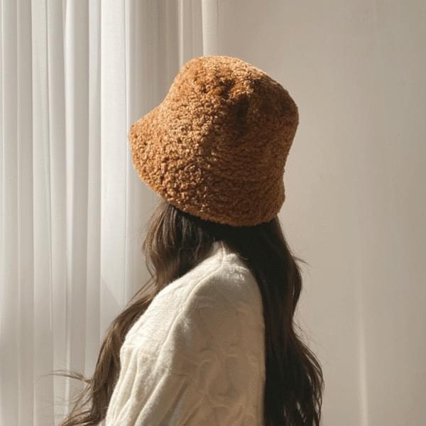 Sheepskin puffy bucket hat hat 4color 帽子