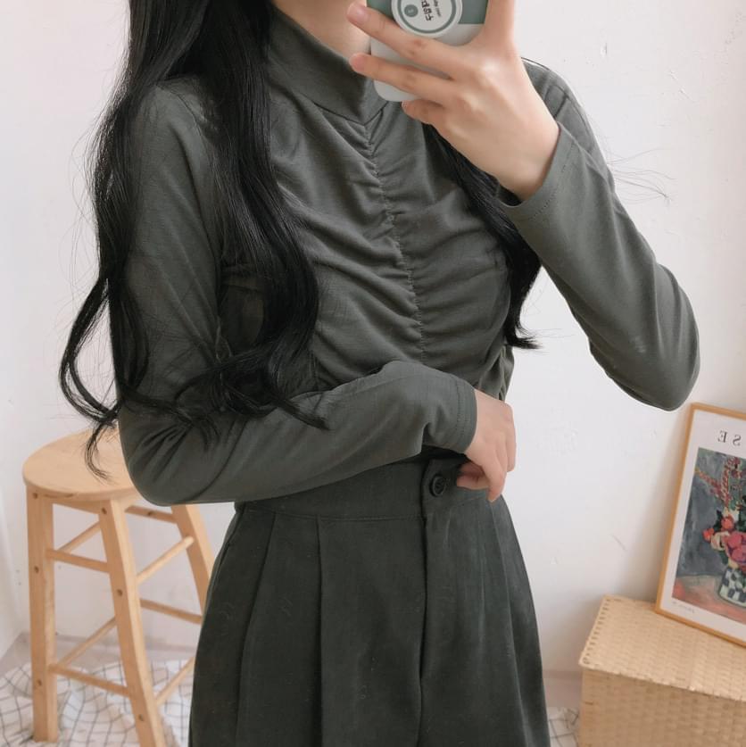 韓國空運 - Front shirred half Turtleneck T-shirt 長袖上衣