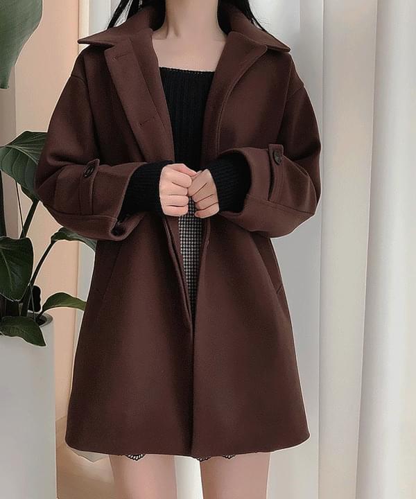Self-made ♥ Mellow collar snap coat 大衣外套