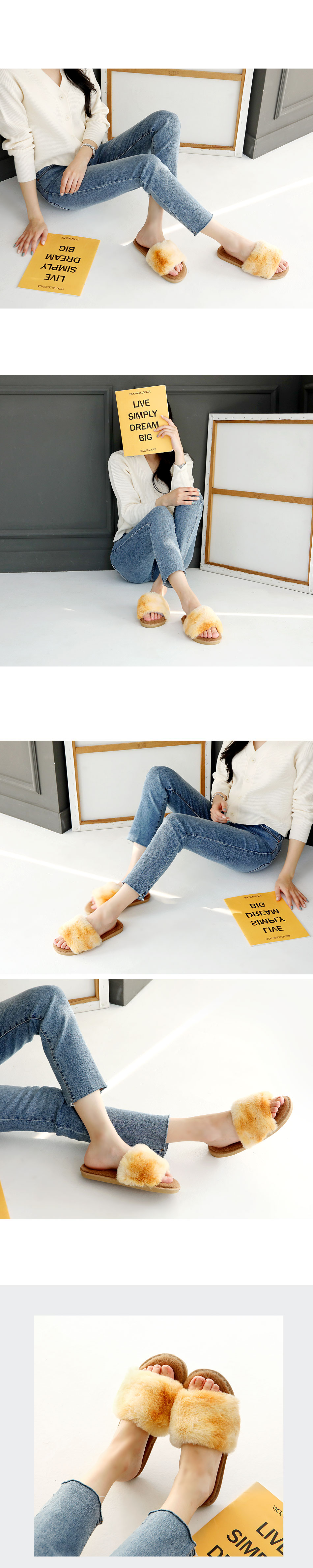 Soft Candy Fur Slippers 1cm