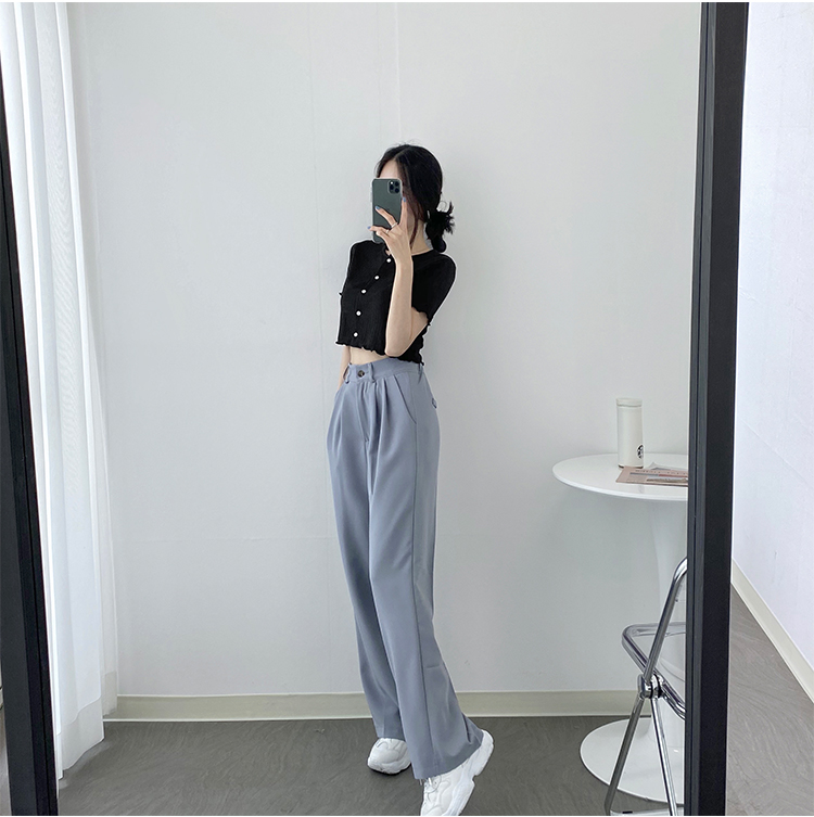 Cool Back Banding Pintuck Wide Slacks 3 Color