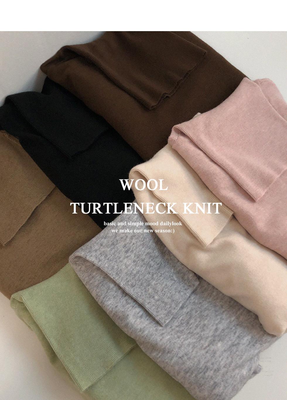 純色高領羊毛針織上衣