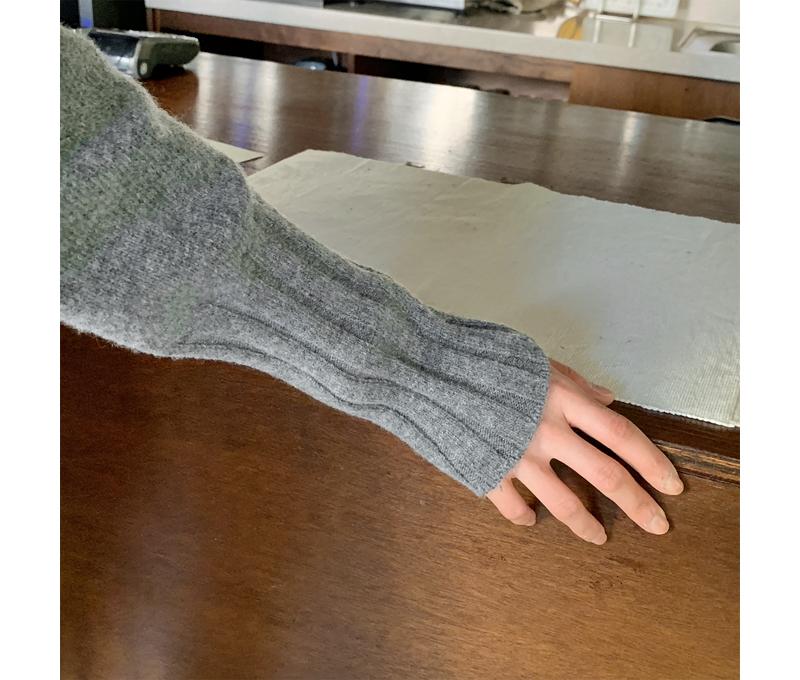 Wavy Half Neck Puff Knit