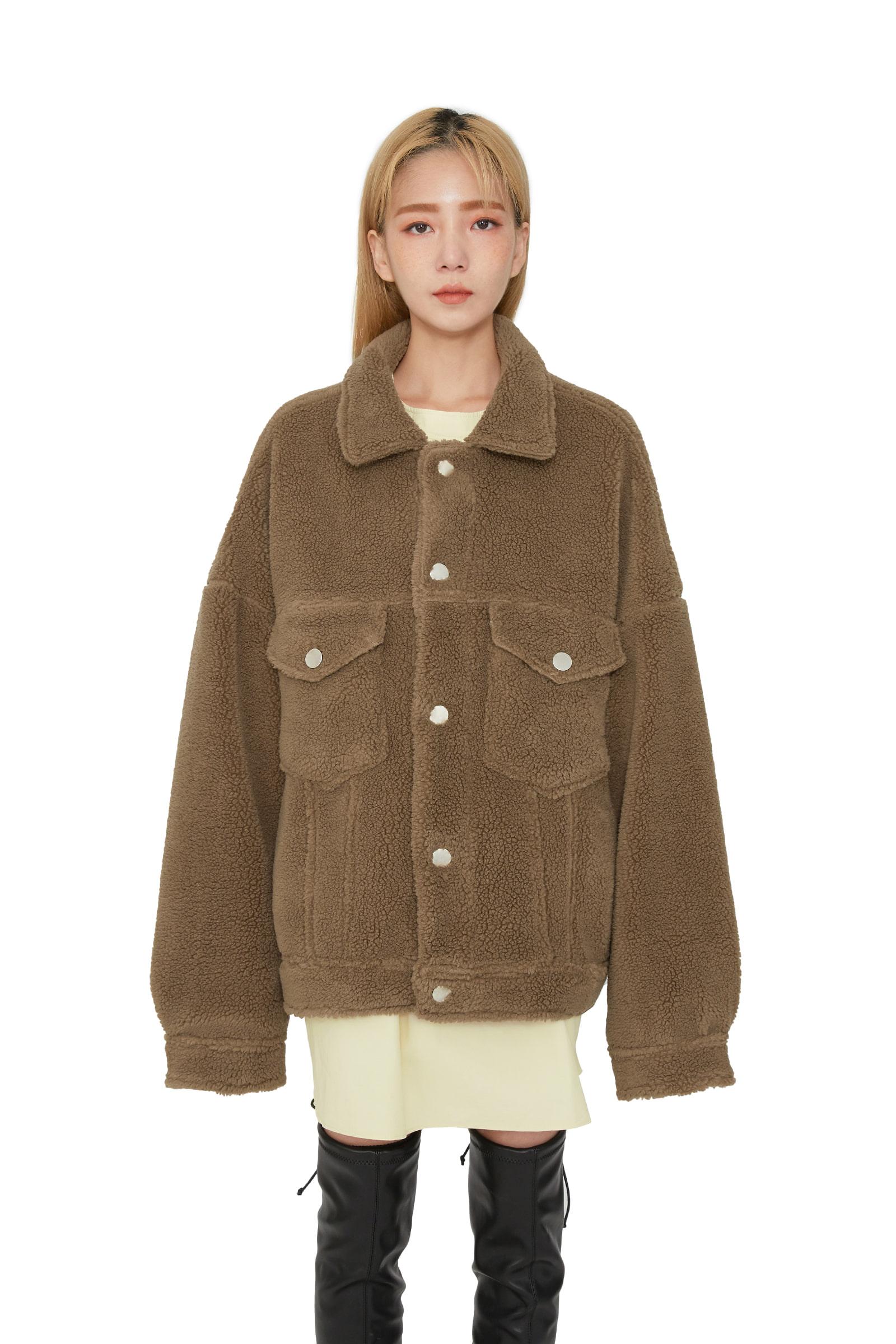 Unisex trucker shearling jacket