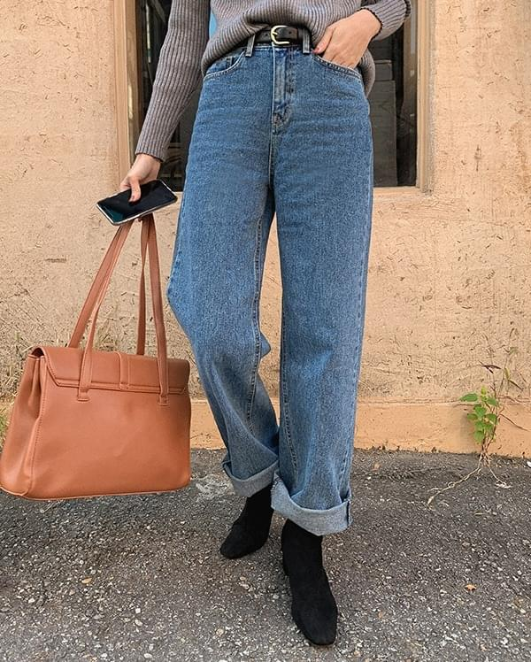 Pleated straight denim trousers 牛仔褲