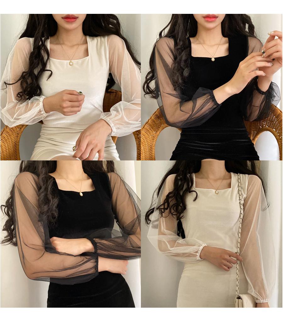 Chiffon Sleeve Square Neck Velvet Dress