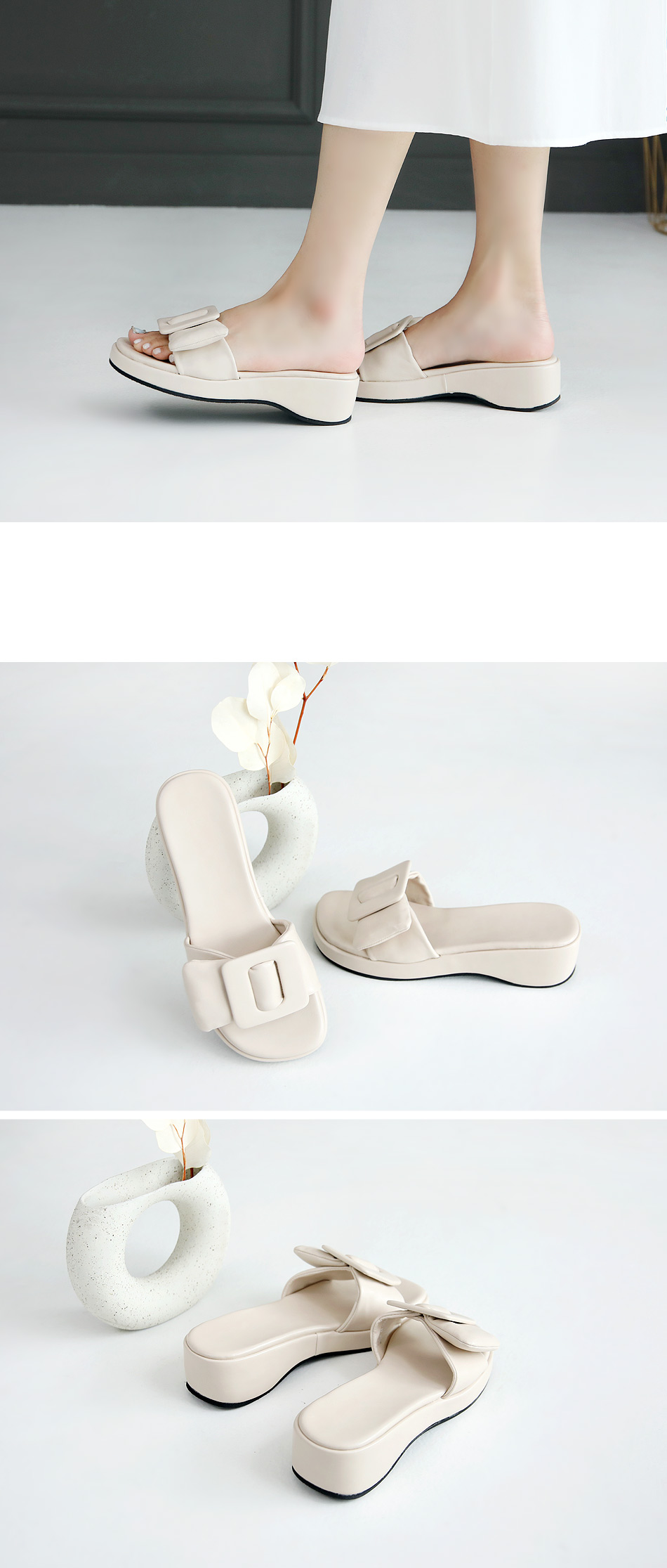 Louped thick soled slippers 4 cm
