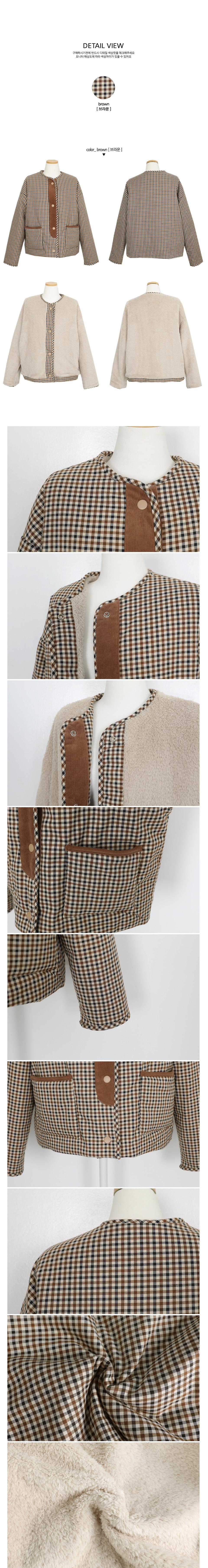 正反兩穿排釦格紋保暖外套