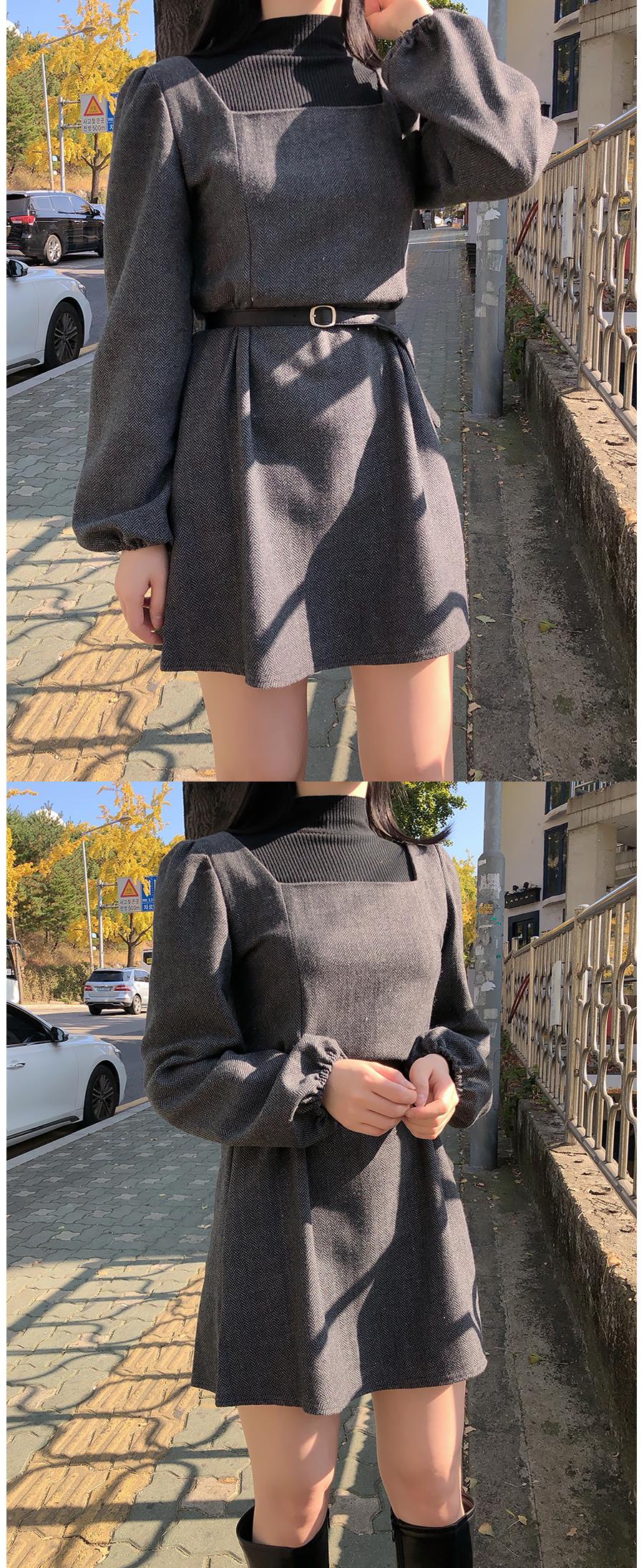Chern Herringbone Deep Square Dress