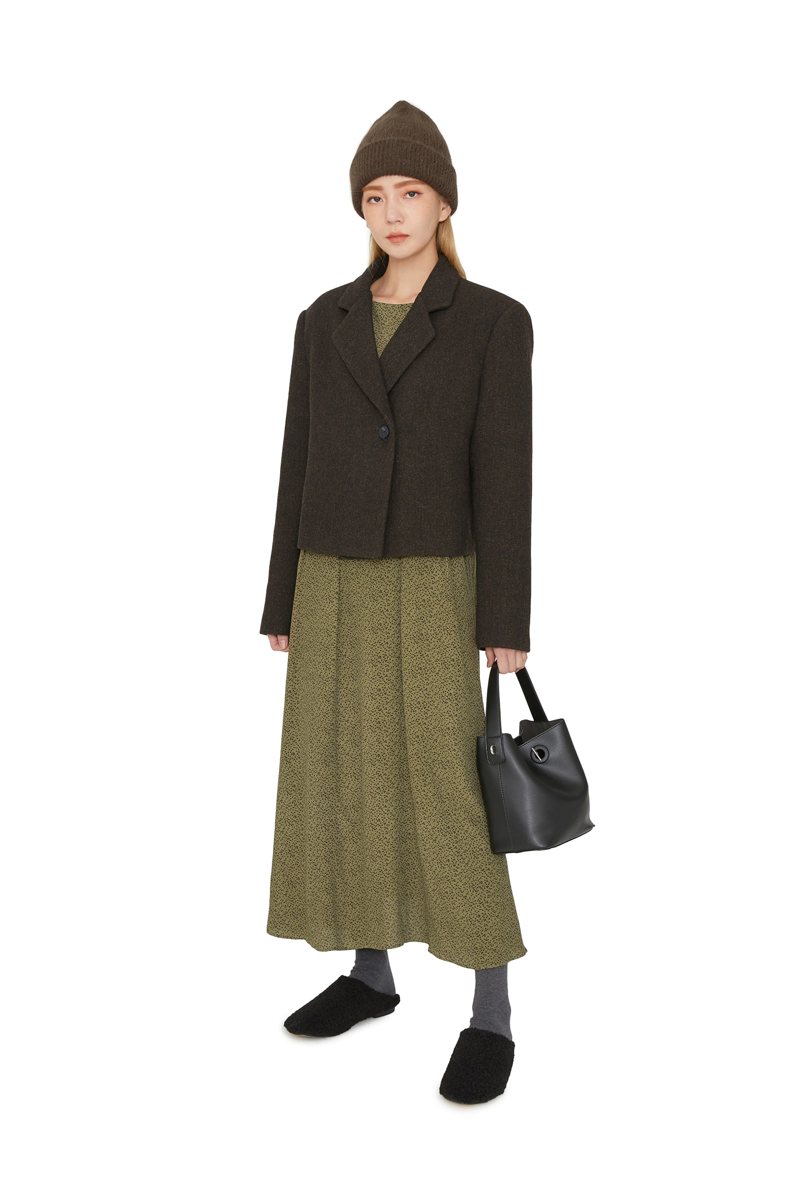 Deer one-button cropped wool jacket