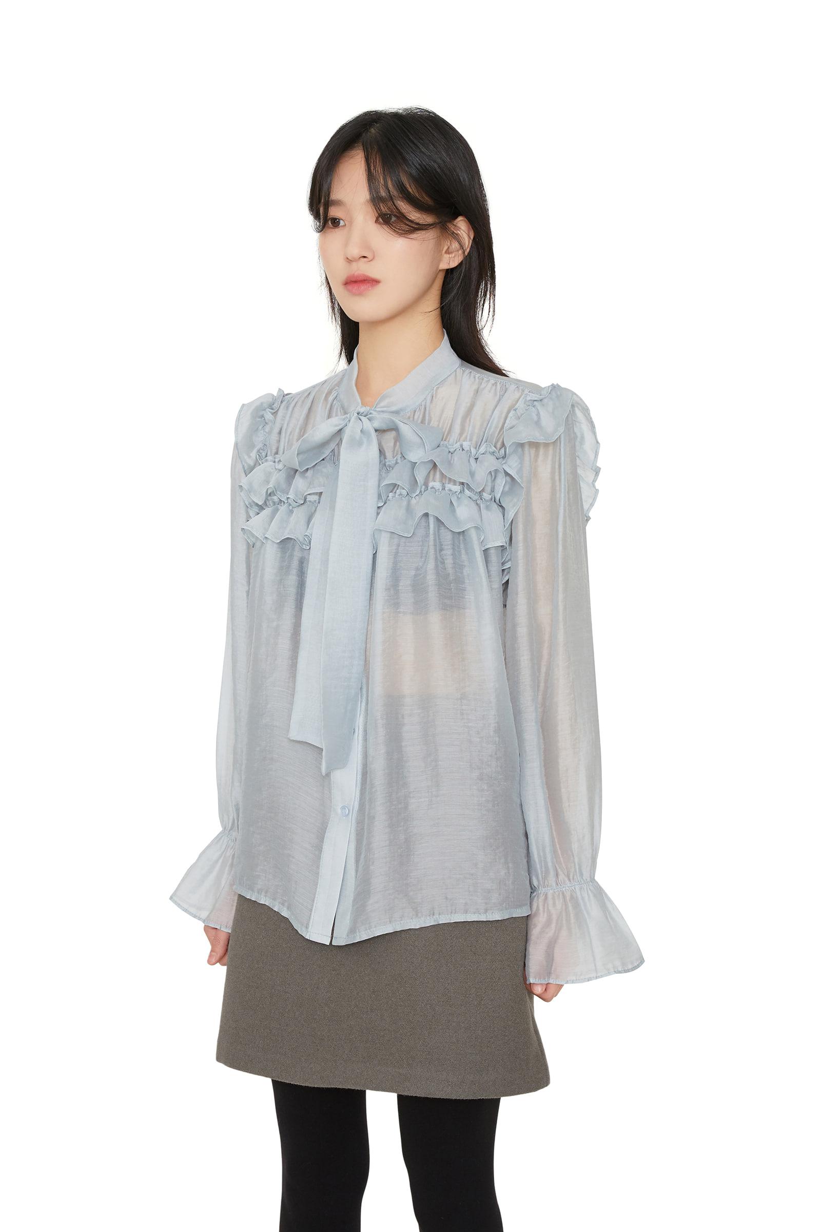 Sorbet sheer ribbon blouse