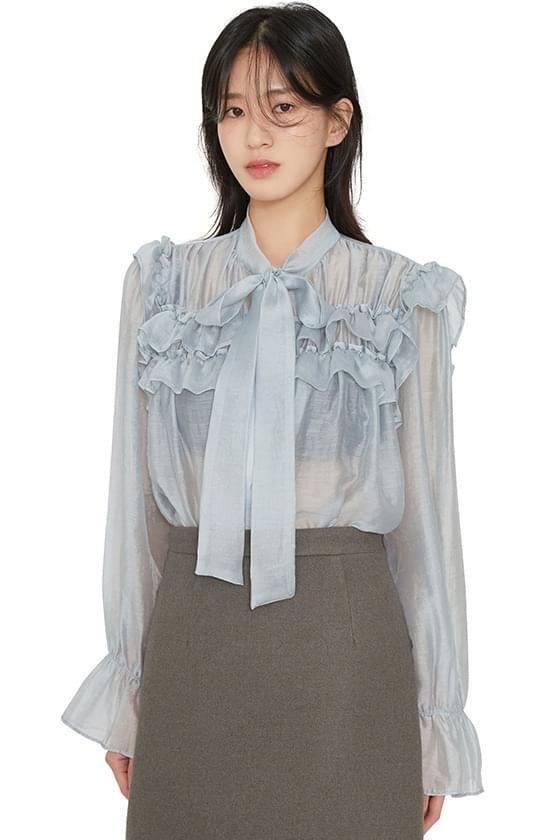 Sorbet sheer ribbon blouse 襯衫