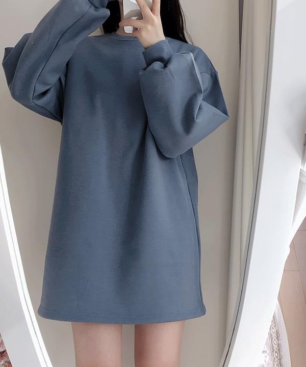Belt set brushed sweatshirt one piece 4color