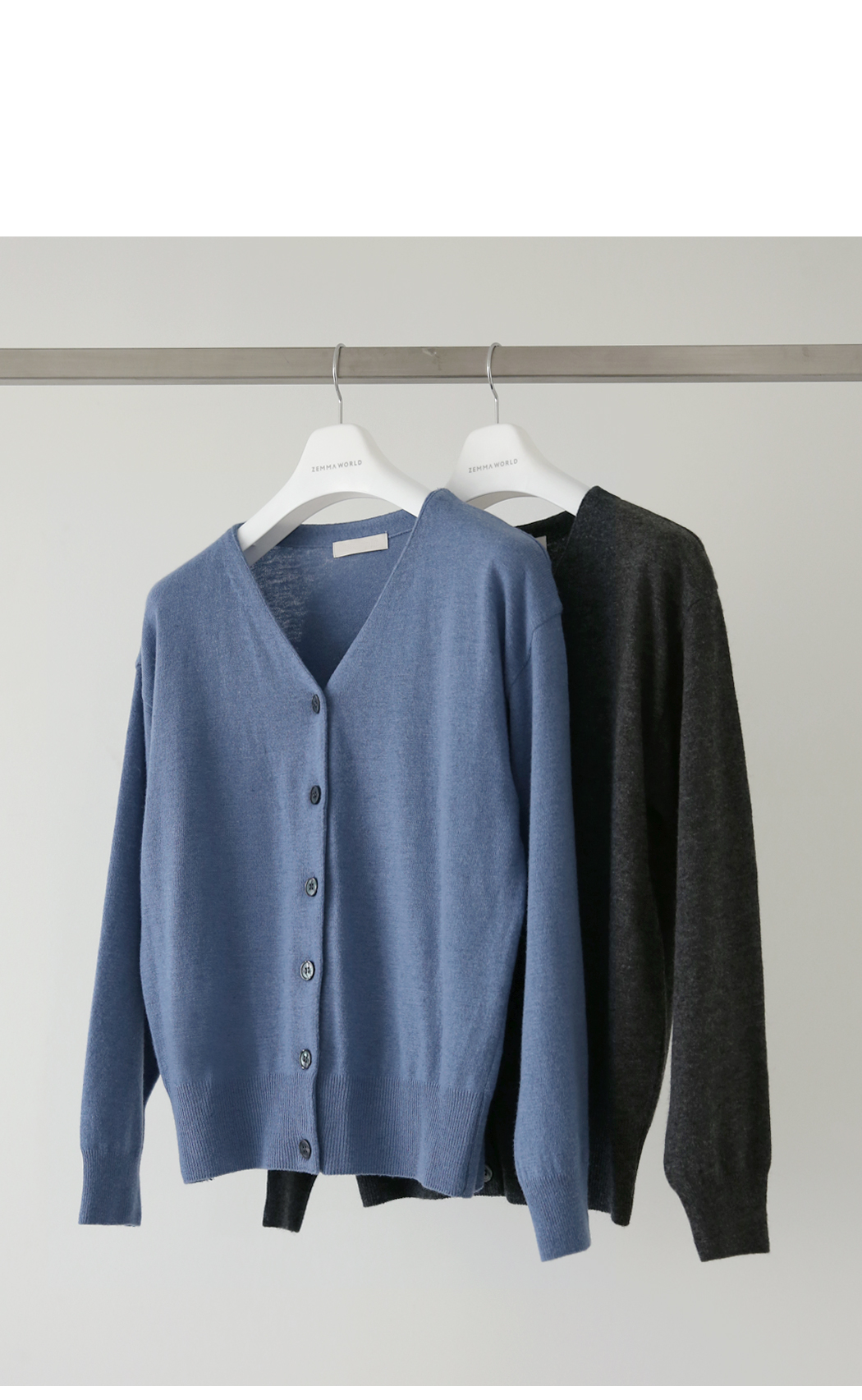 Pale blue V-neck wool cardigan