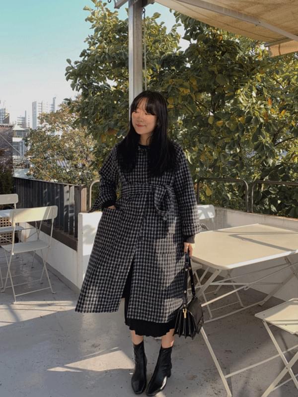 MMMM/ Monotone Raglan Check Wool Coat 大衣外套