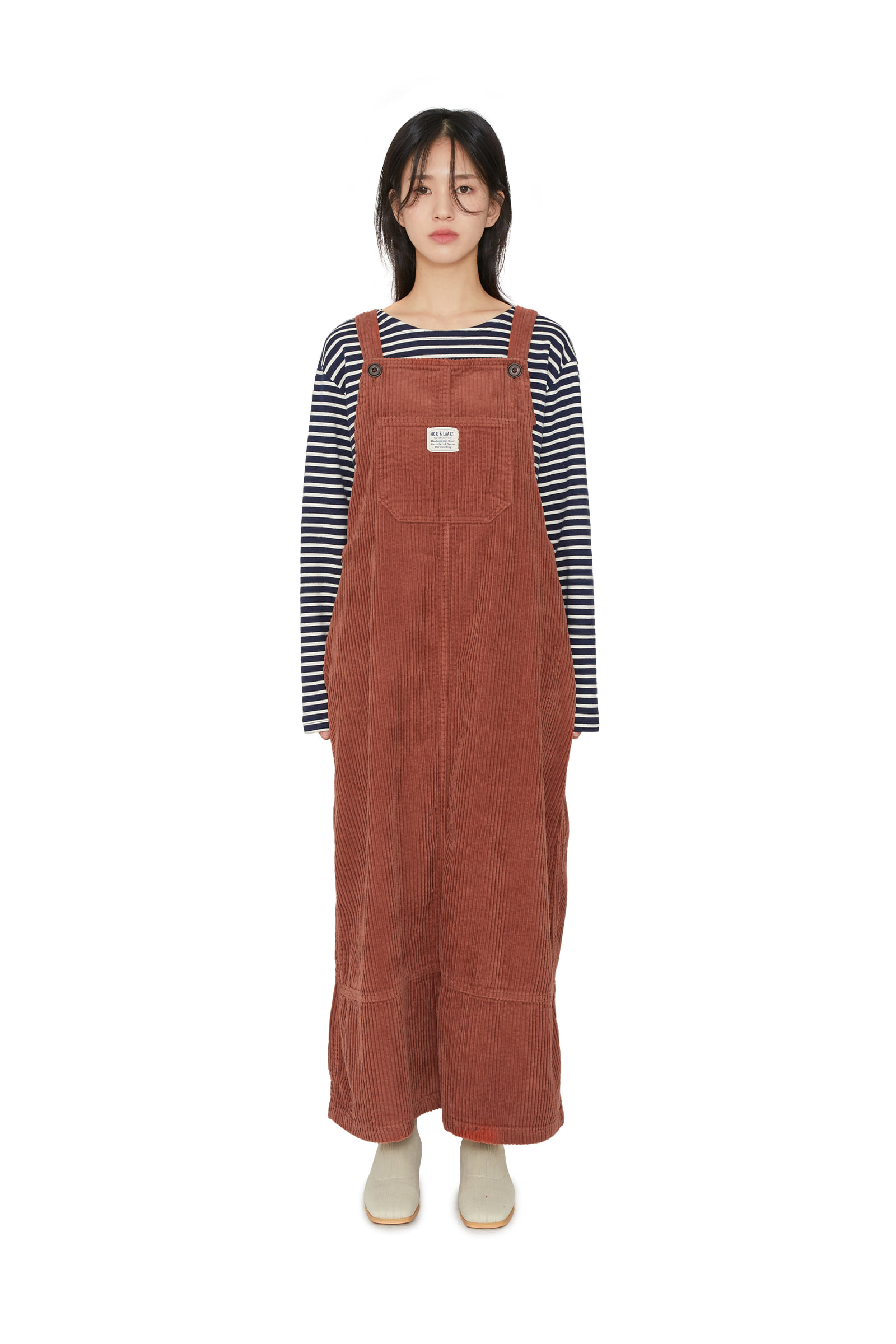 Corduroy overall maxi dress
