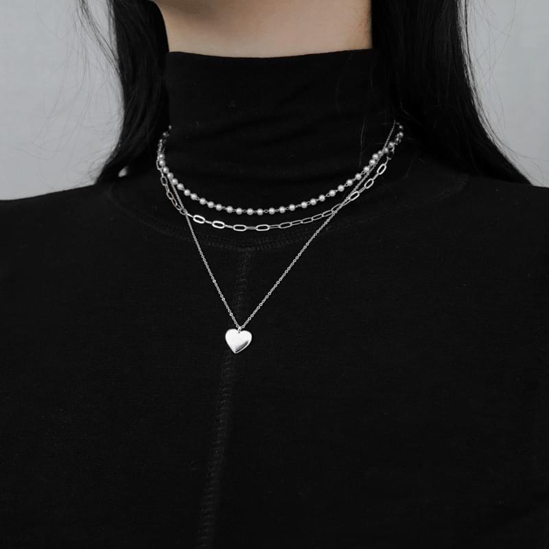 1052 ハートチェーン真珠ツーウェイネックレス