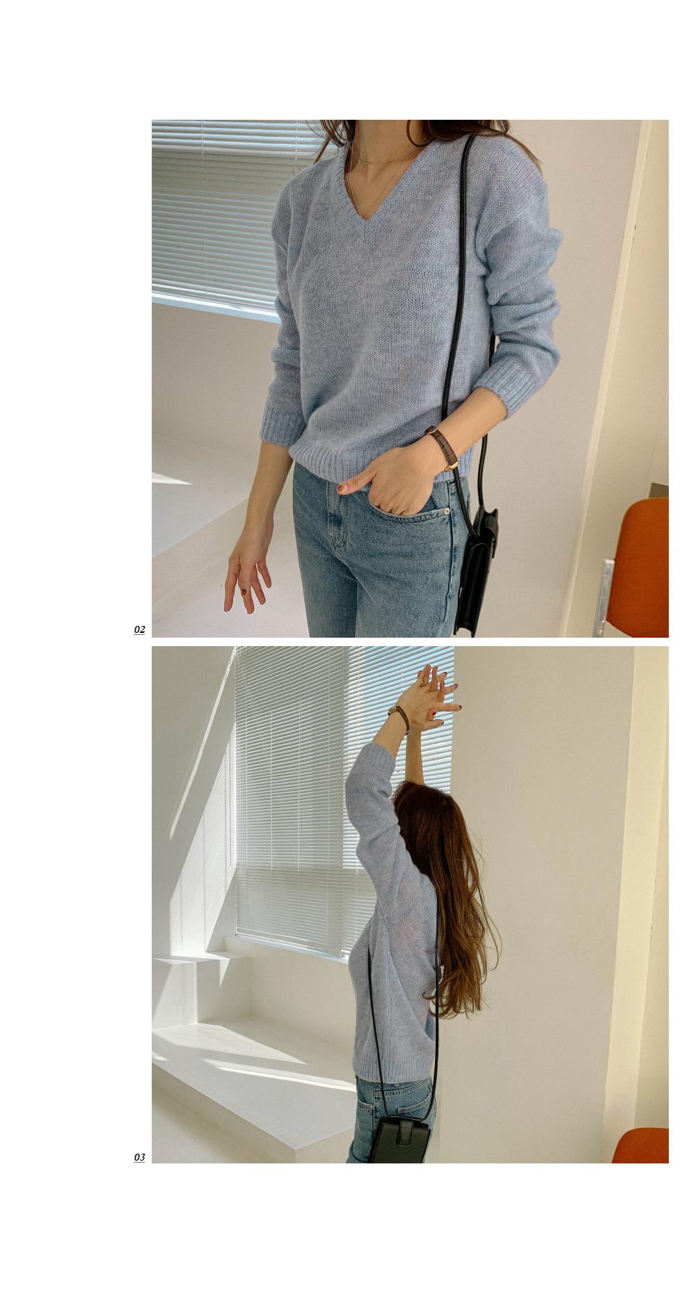 Pastel Color Mohair V-Neck Knit