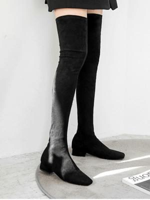 燈芯絨粗跟長靴3.5cm
