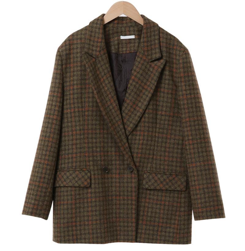 Memory Double Wool Check Jacket