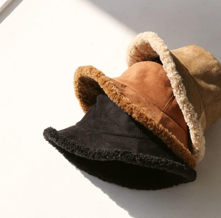 仿皮草內裡麂皮感漁夫帽
