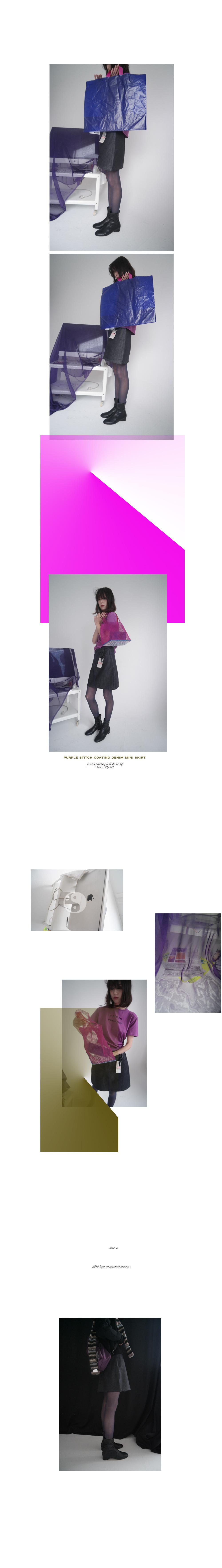 purple stitch coating denim mini skirt