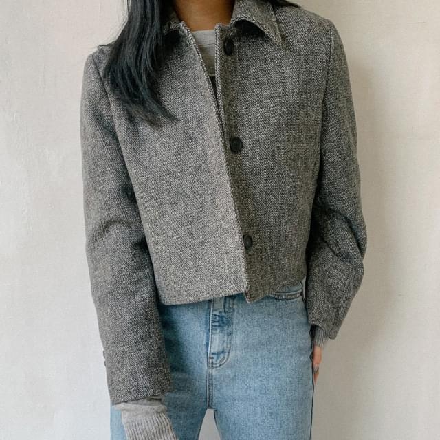 Formal Herringbone Crop Wool Jacket