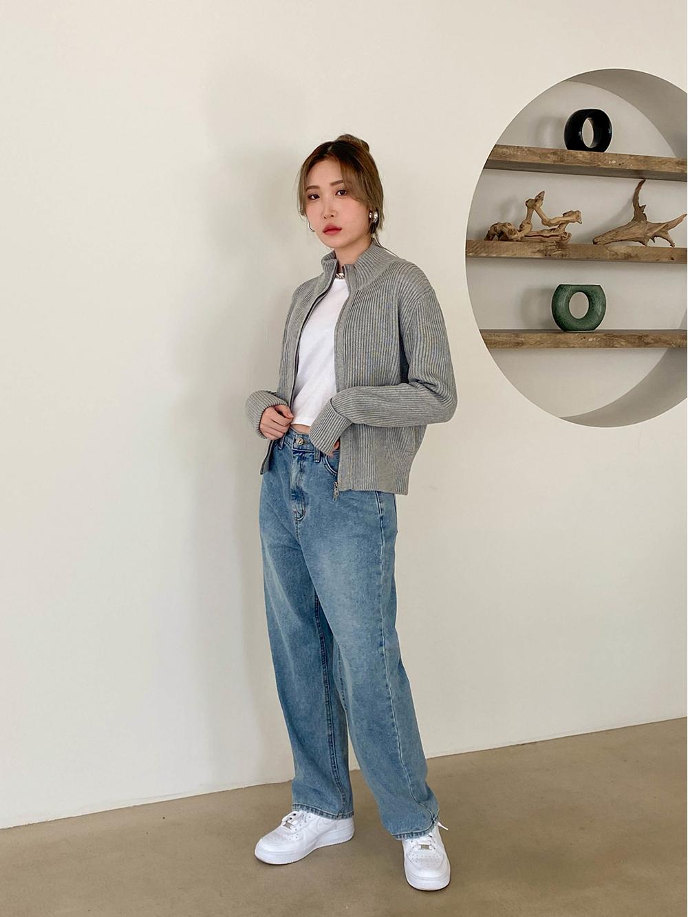 Loa straight wide denim trousers