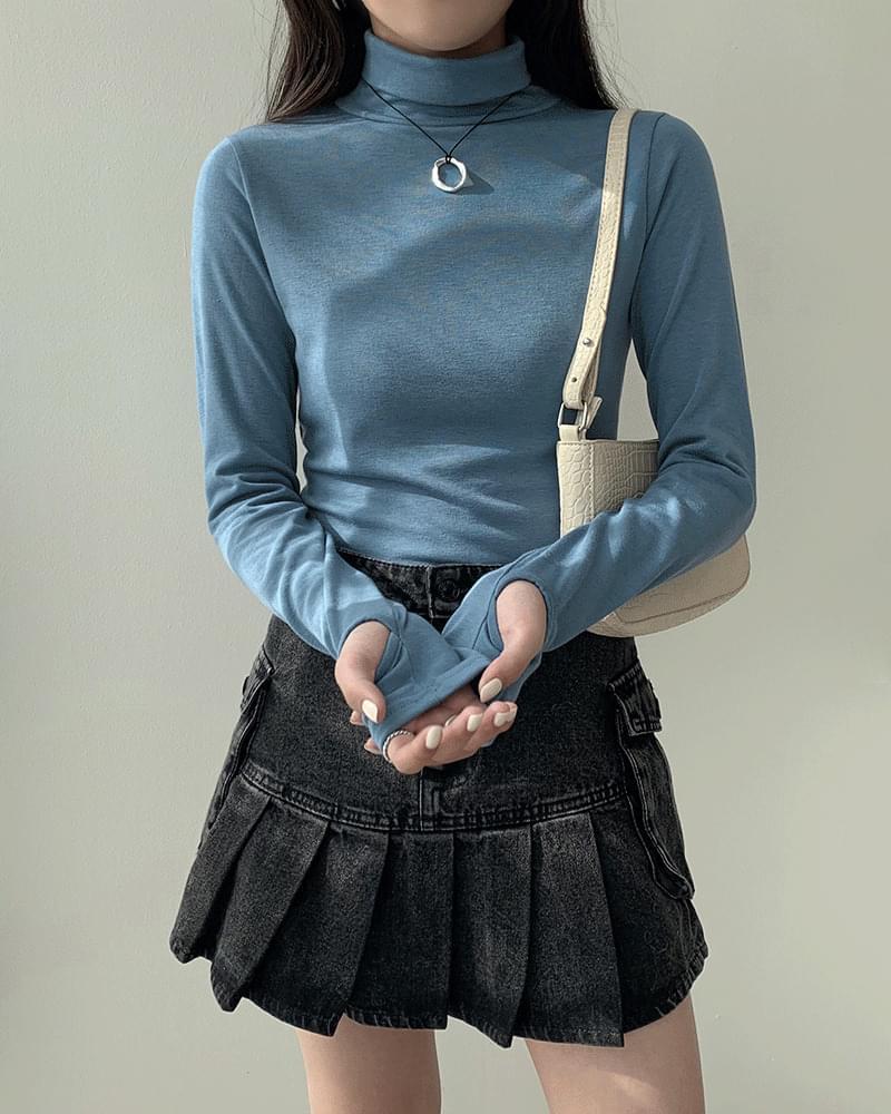 Rivet plain Fleece-lined warmer Turtleneck T-shirt