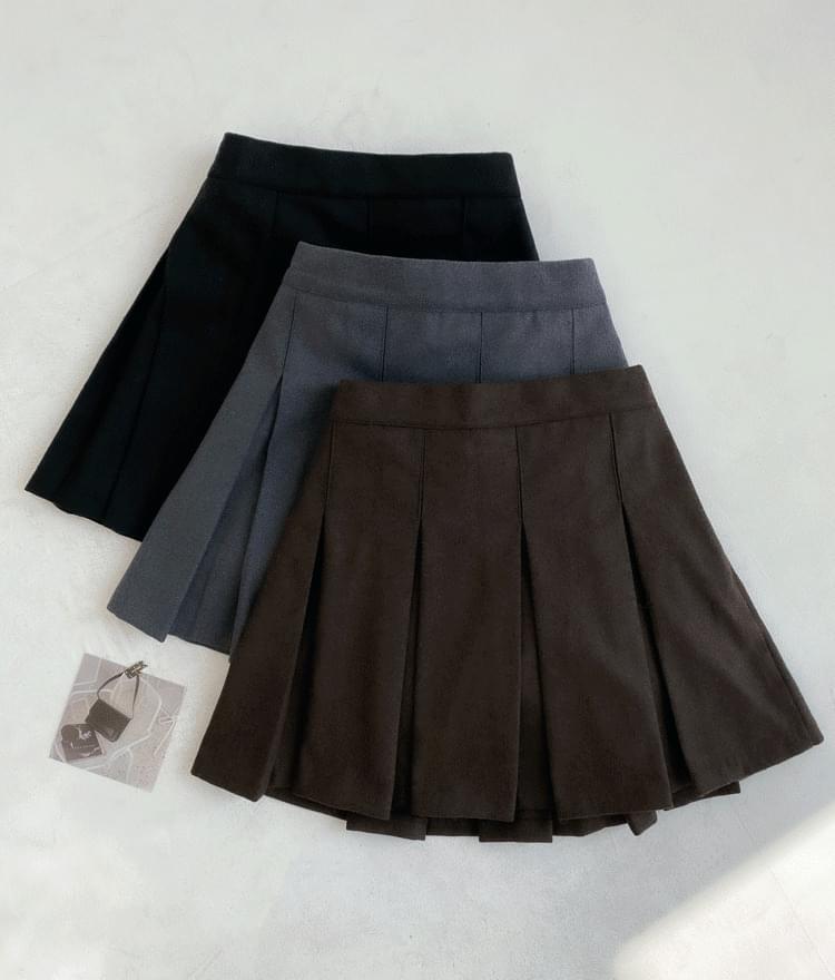 NEVERM!NDSemi-Elastic Waist Pleated Mini Skirt