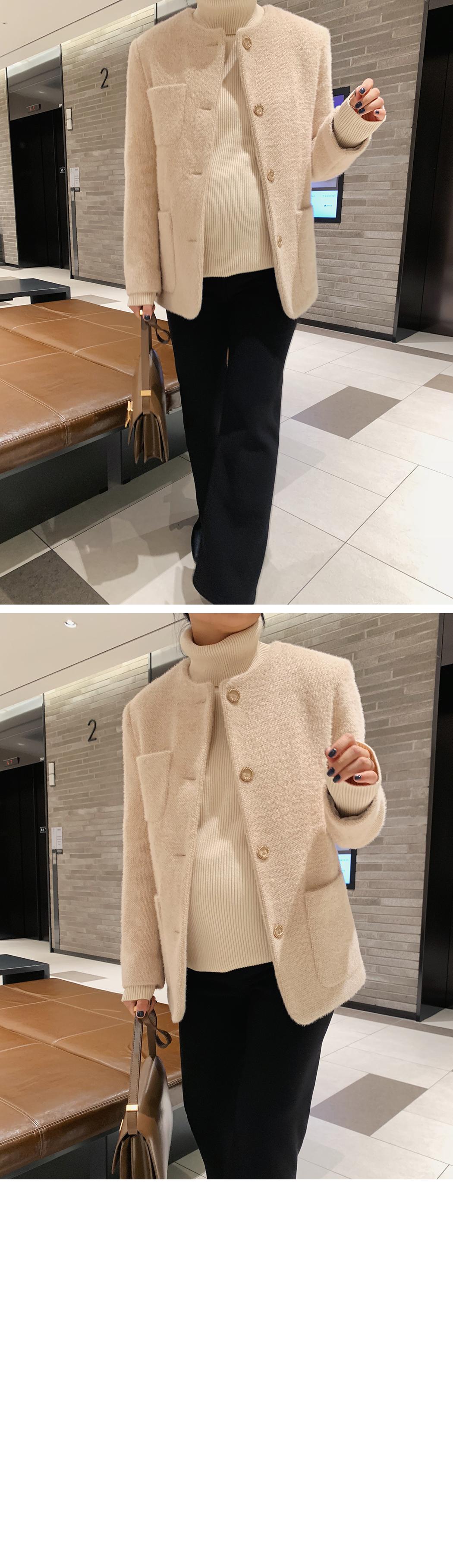 Hairy quilted tweed jacket
