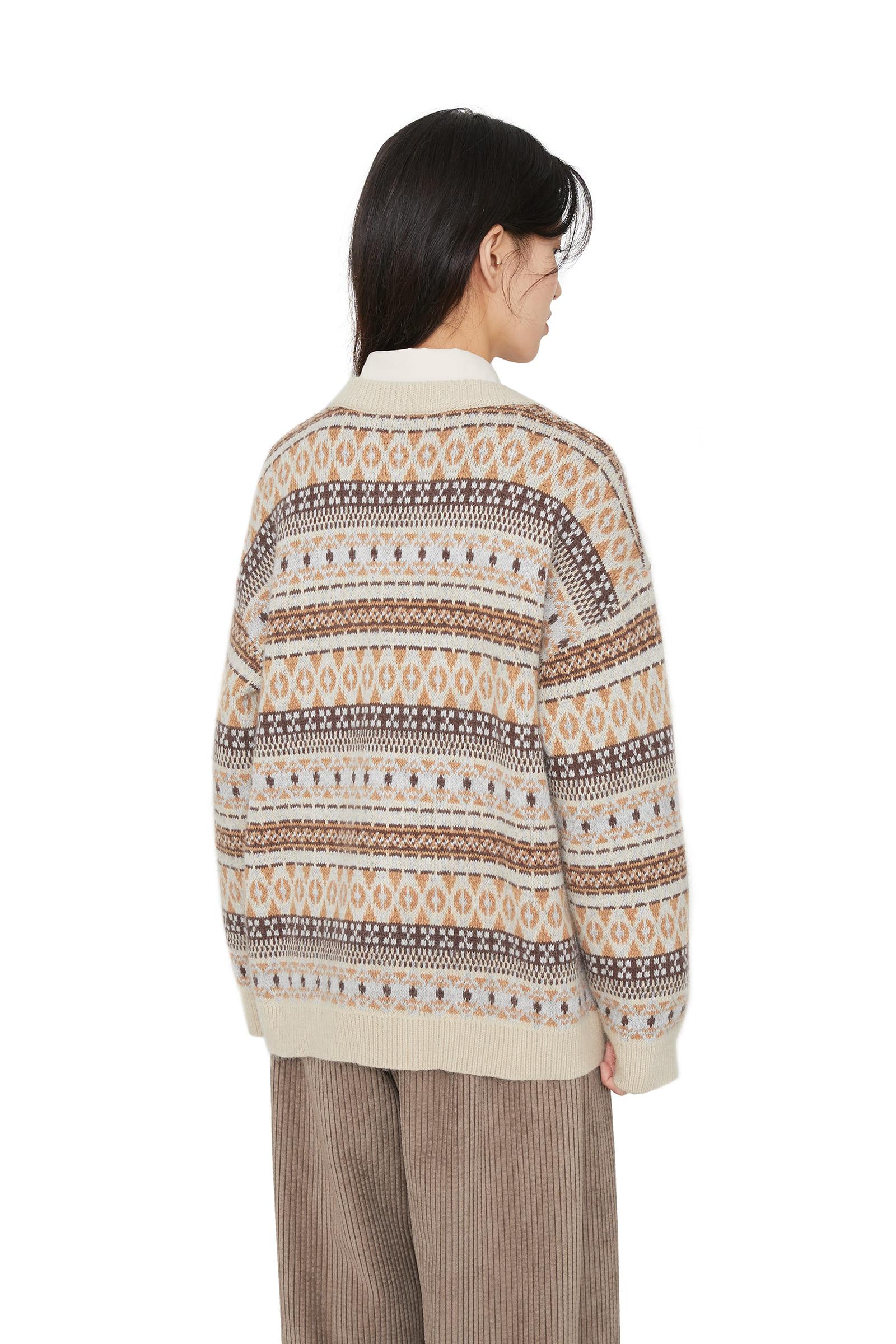 Biller Pattern Angora Crew Neck Knit