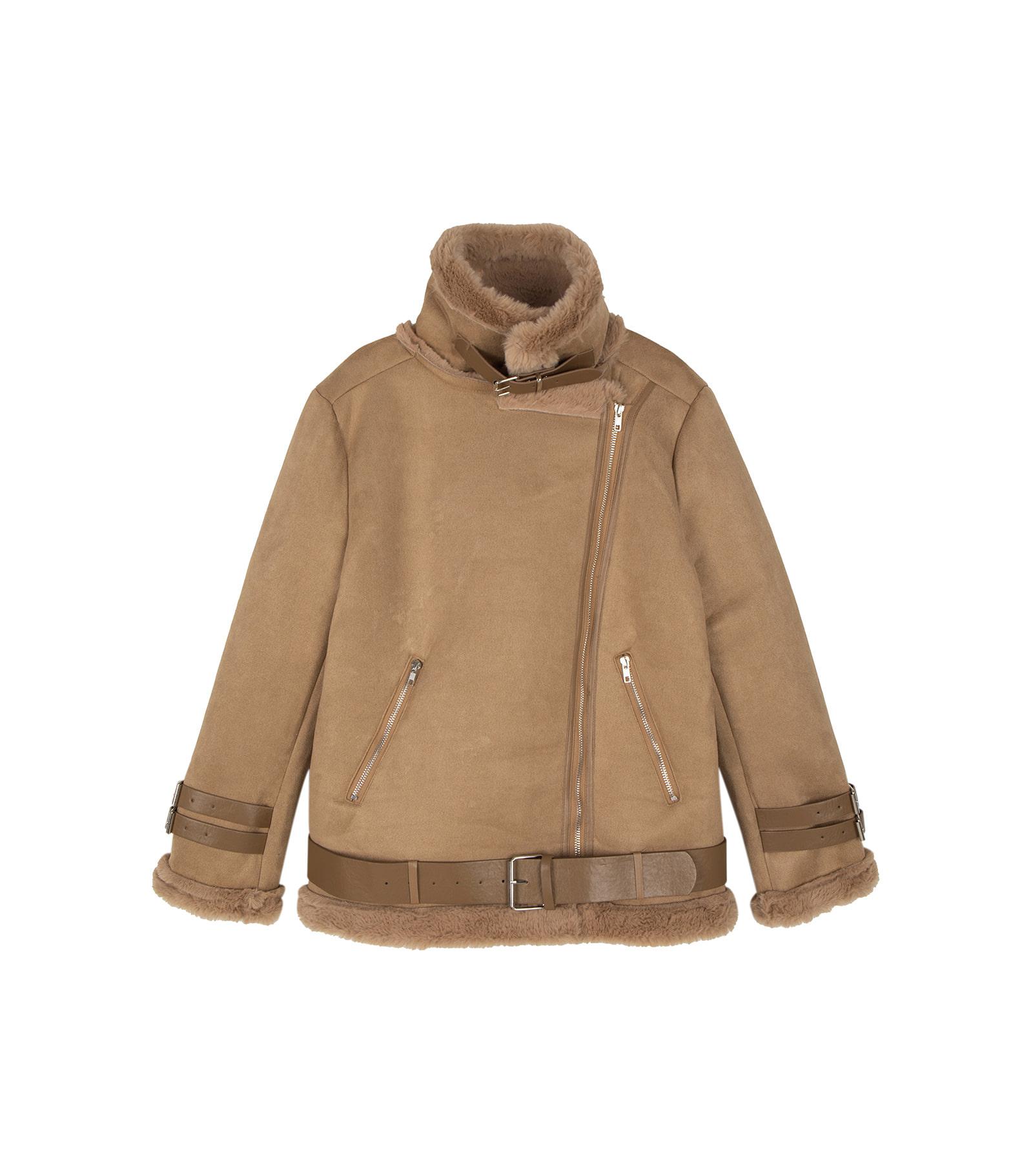 소프티 벨트 퍼 무스탕 재킷