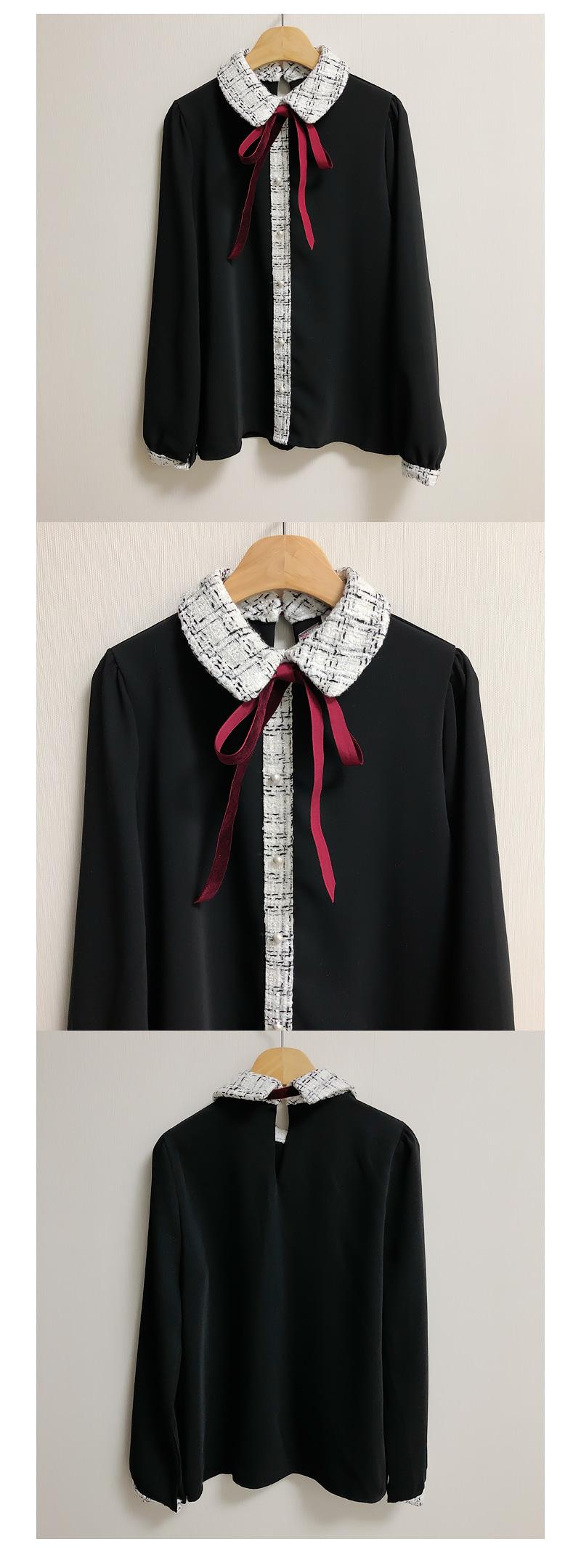 Allie Tweed Color Ribbon Blouse 2color