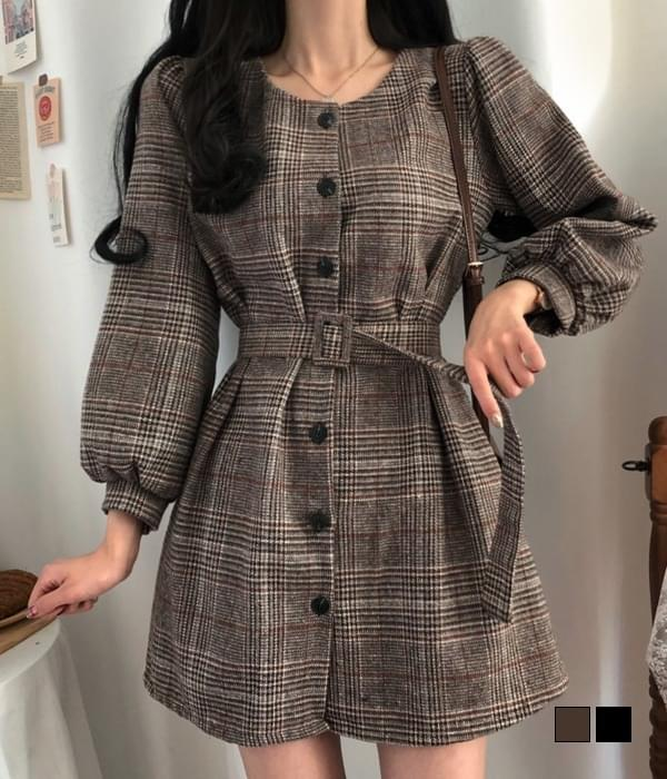 Retro Wool Fleece-lined Check Belt Mini Dress 迷你短洋裝