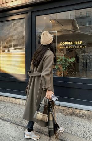 Dof khaki raglan wool coat