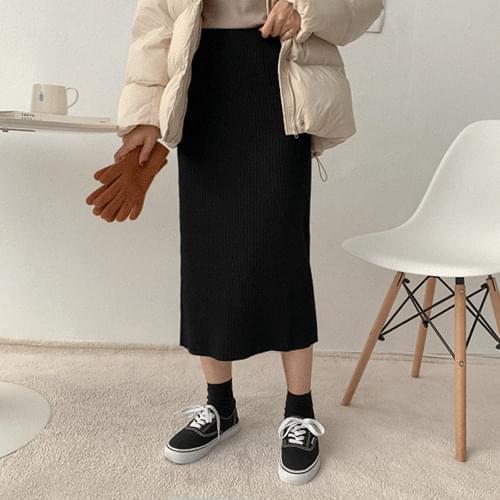 Viscose Corrugated Knit Long Skirt
