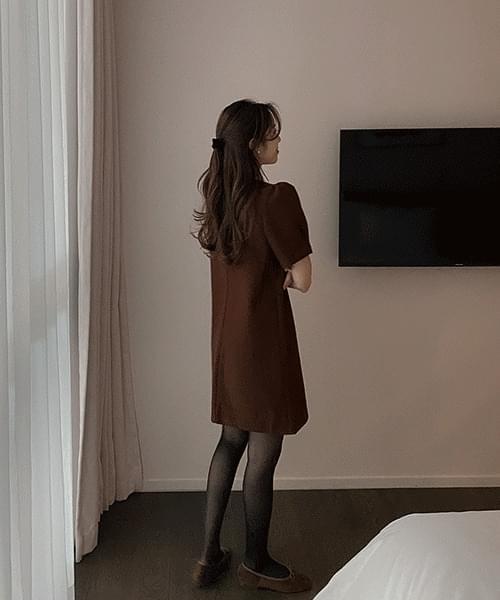 Puff Wool Mini Dress-2color