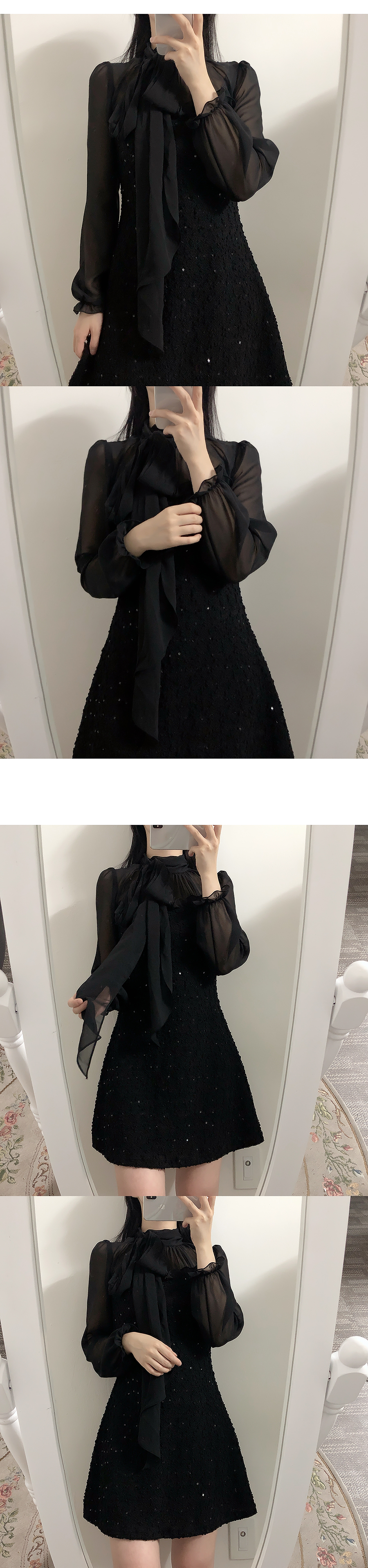 Sequin tie color matching dress 2color