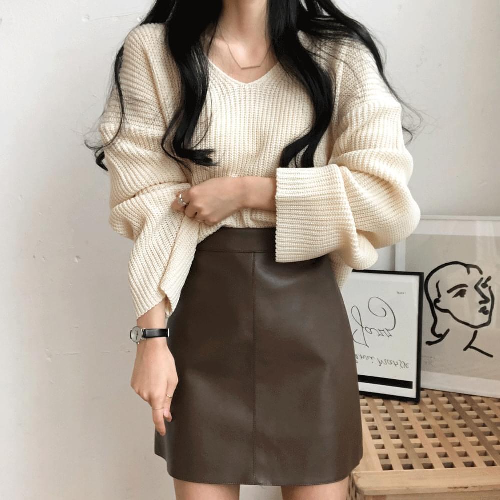 Leather Simple A-line Mini Skirt