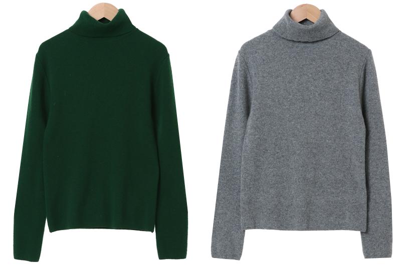 Warming Pine Wool Cashmere Turtleneck Knitwear
