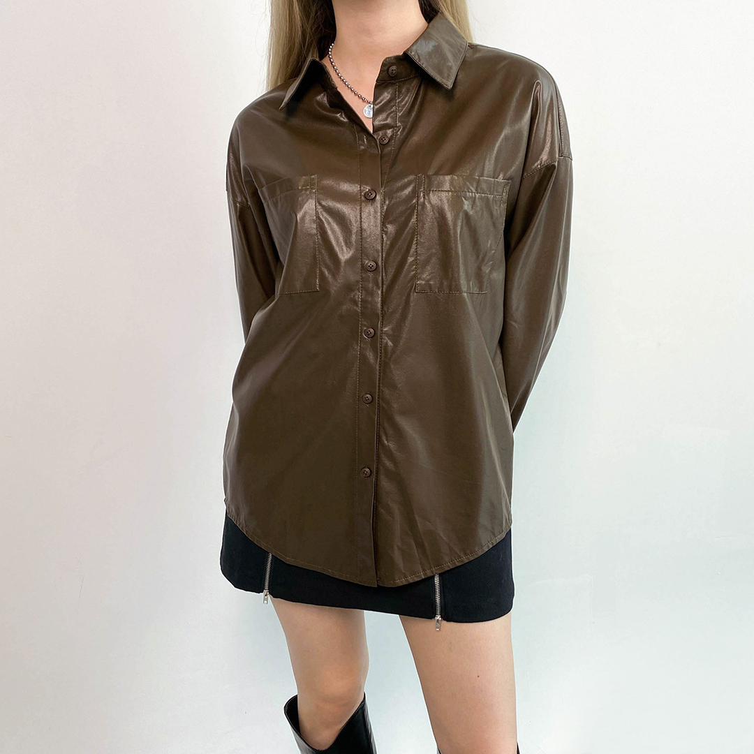 Leather boxy fit shirt