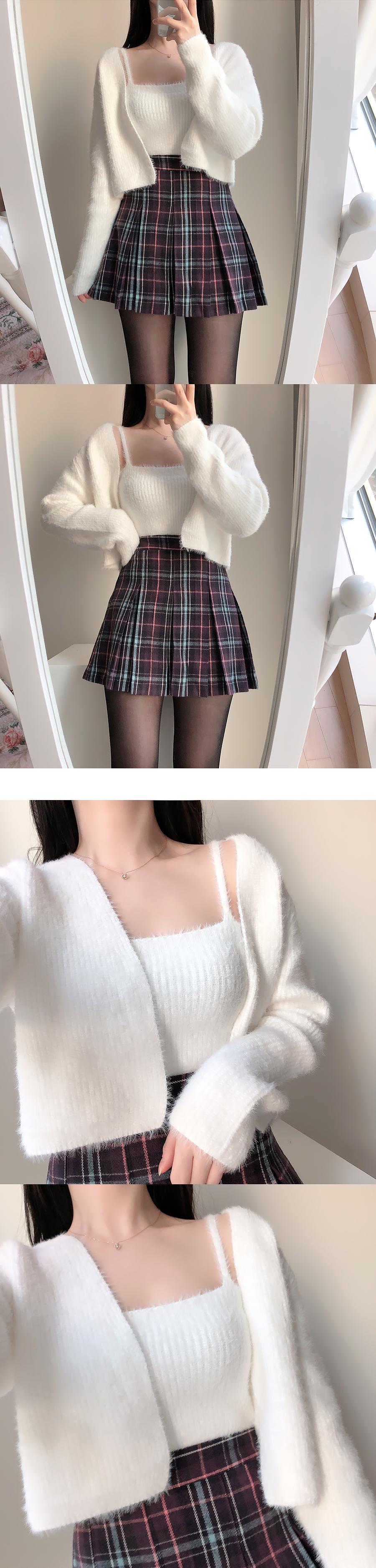 Purple Dazel Check Mini Skirt