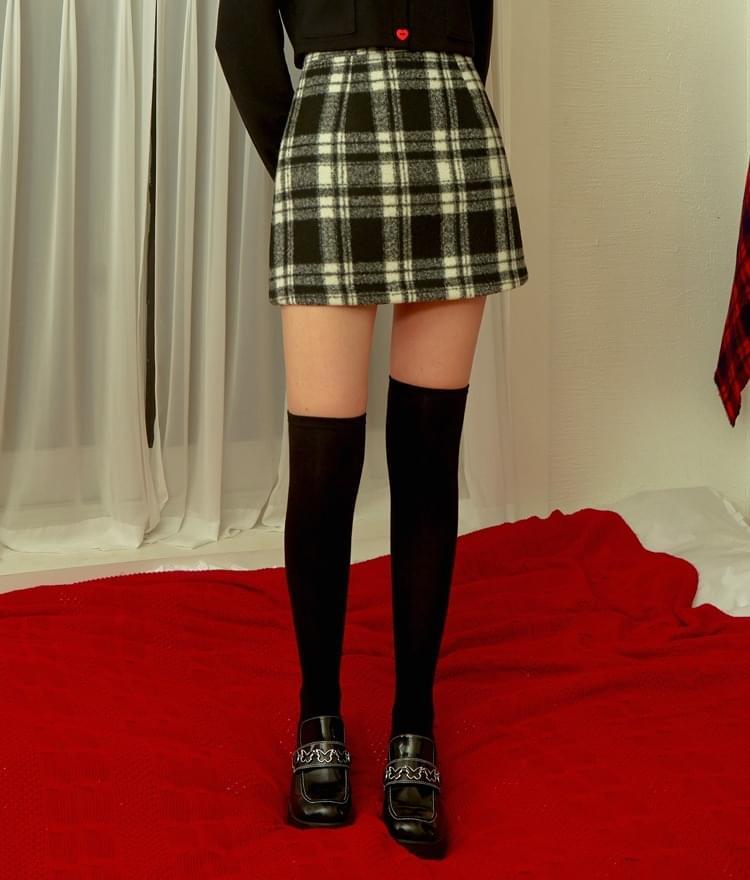 Heart Check Mini Skirt (Black)